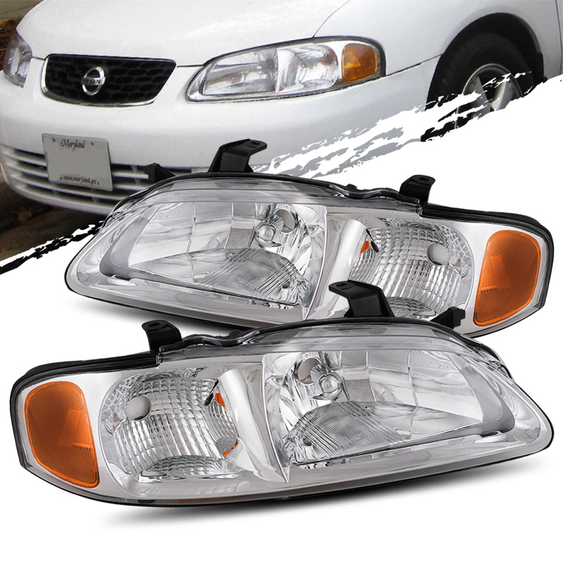 For 2000 2003 Nissan Sentra Chrome Crystal Headlights Lamps Embly Replacement
