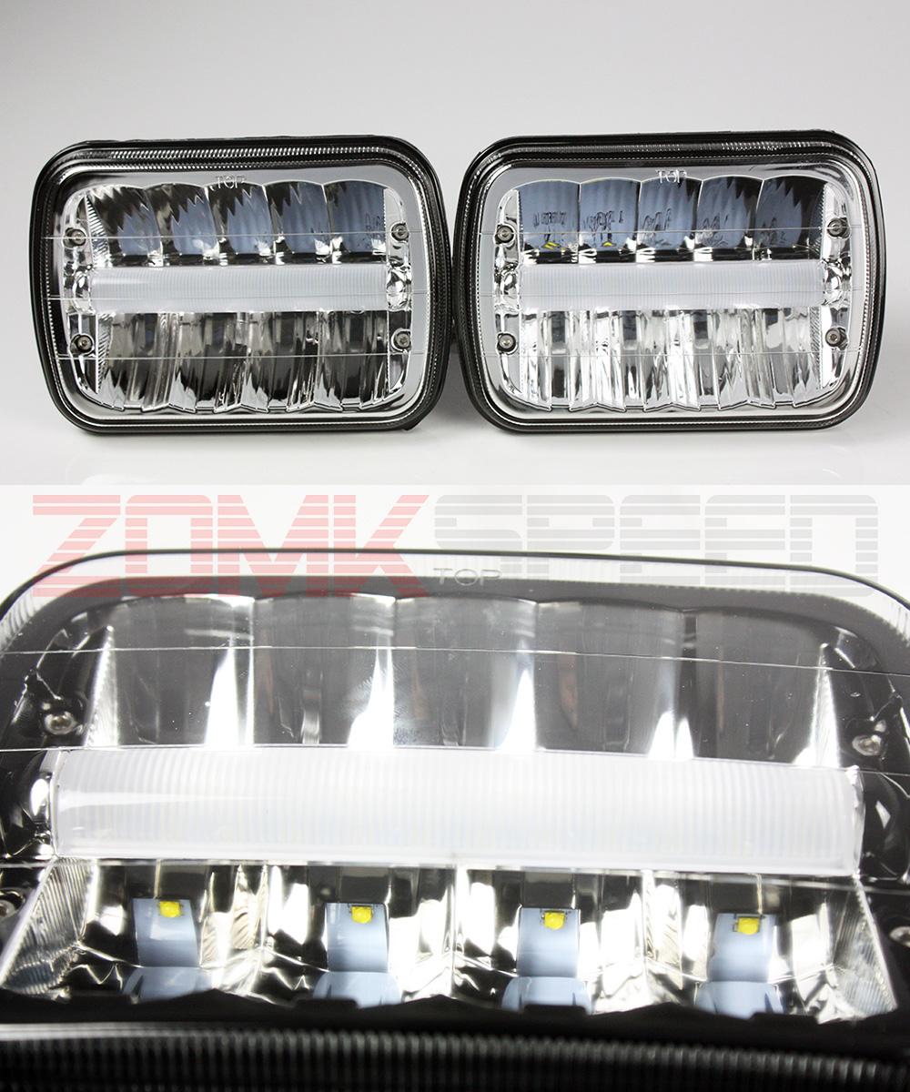 7x6 H6014//H6052//H6054 Chrome 55W LED Sealed Beam Headlights Set DRL Light Tube