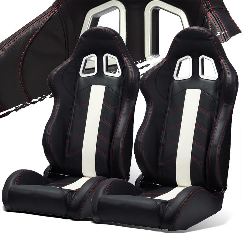 Black Pvc Leather White Strip Red Stitching Left Right Recaro Style Racing Seats Ebay