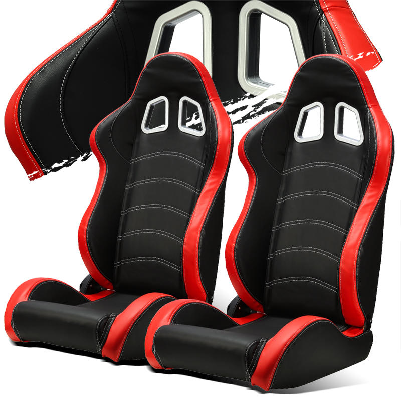 Black Red Pvc Leather White Stitch Left Right Recaro Style Racing Seats Slider Ebay
