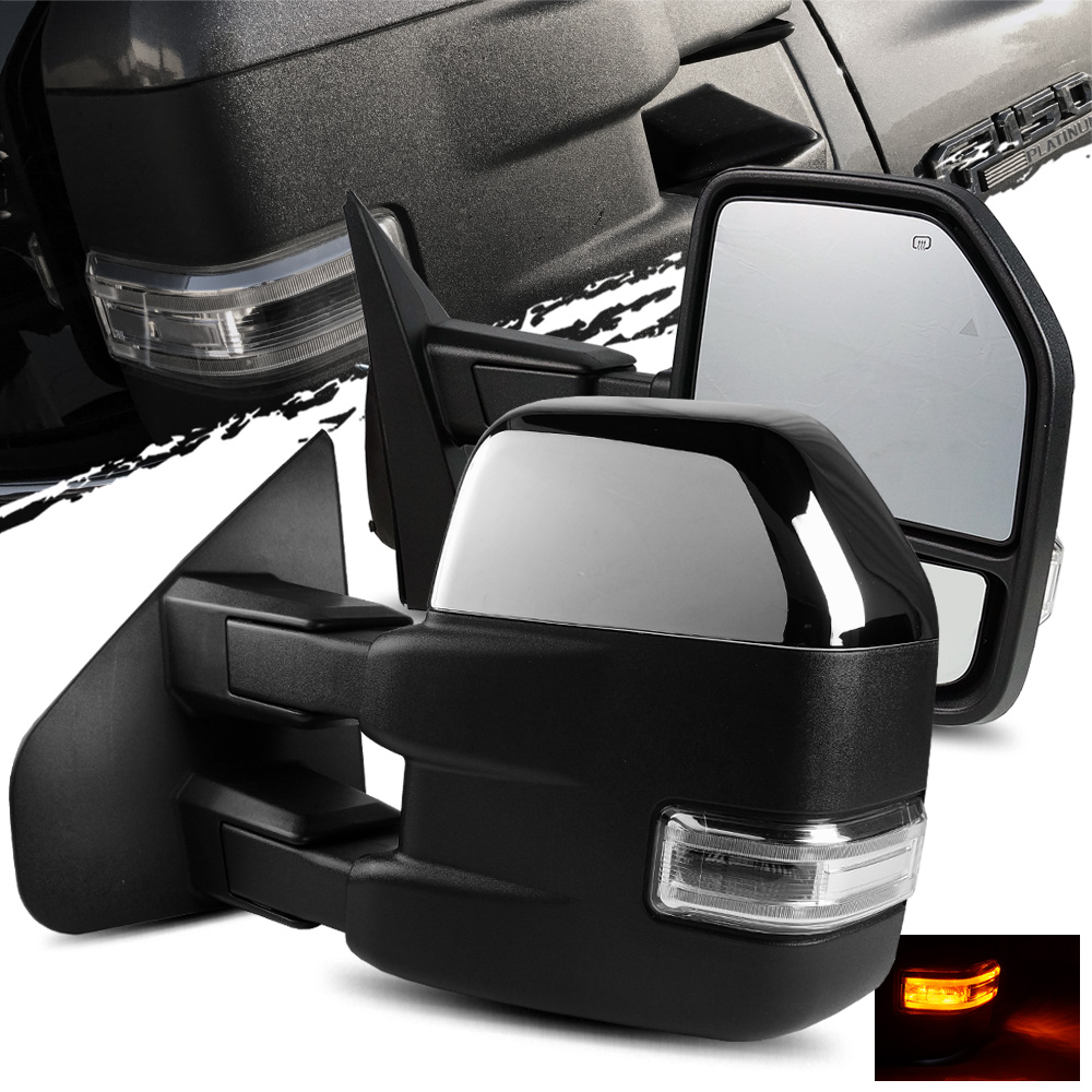 For 04-14 Ford F150 Power Heated Auxiliary clearance Puddle Signal Tow Mirrors